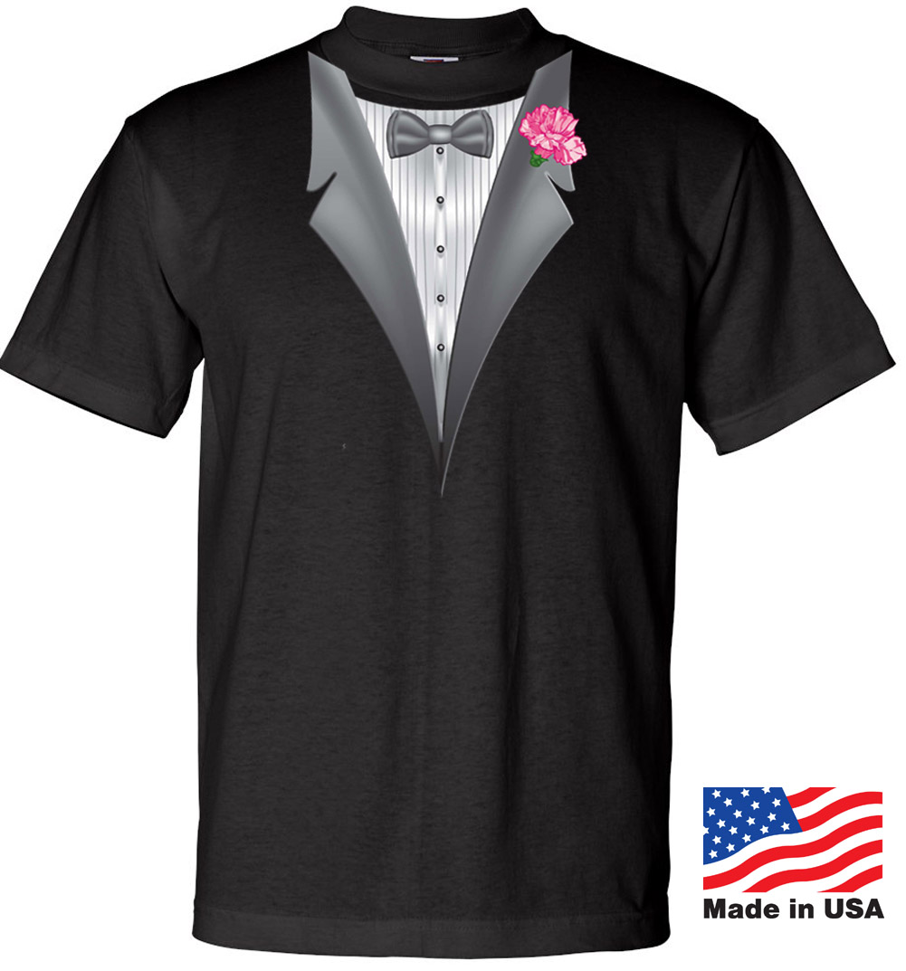 Made in the usa mens tuxedo tee shirt with pink flower for Black tuxedo shirt for men