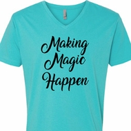 Making Magic Happen Black Print Mens V-Neck Shirt
