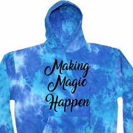 Making Magic Happen Black Print Tie Dye Hoodie