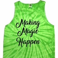 Making Magic Happen Black Print Tie Dye Tank Top