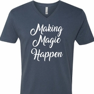 Making Magic Happen White Print Mens V-Neck Shirt