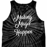 Making Magic Happen White Print Tie Dye Tank Top