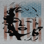 Marilyn Monroe Juniors Shirt Marilyn Flag Grey Tee T-Shirt