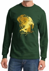 Marilyn Monroe Shirt Gold Foil Portrait Long Sleeve Shirt