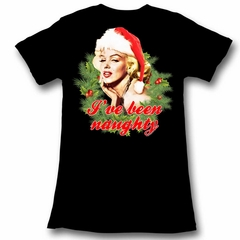 Marilyn Monroe Shirt Juniors Naughty Christmas Black T-Shirt