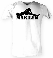 Marilyn Monroe T-shirt Laying Classic Adult White Tee Shirt