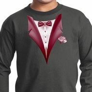 Maroon Tuxedo Kids Long Sleeve Shirt