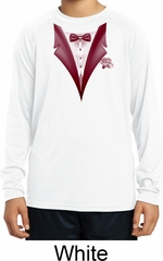 Maroon Tuxedo Kids Moisture Wicking Long Sleeve Shirt