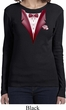 Maroon Tuxedo Ladies Long Sleeve Shirt