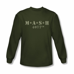 Mash Shirt Distressed Logo Long Sleeve Olive Green T-Shirt