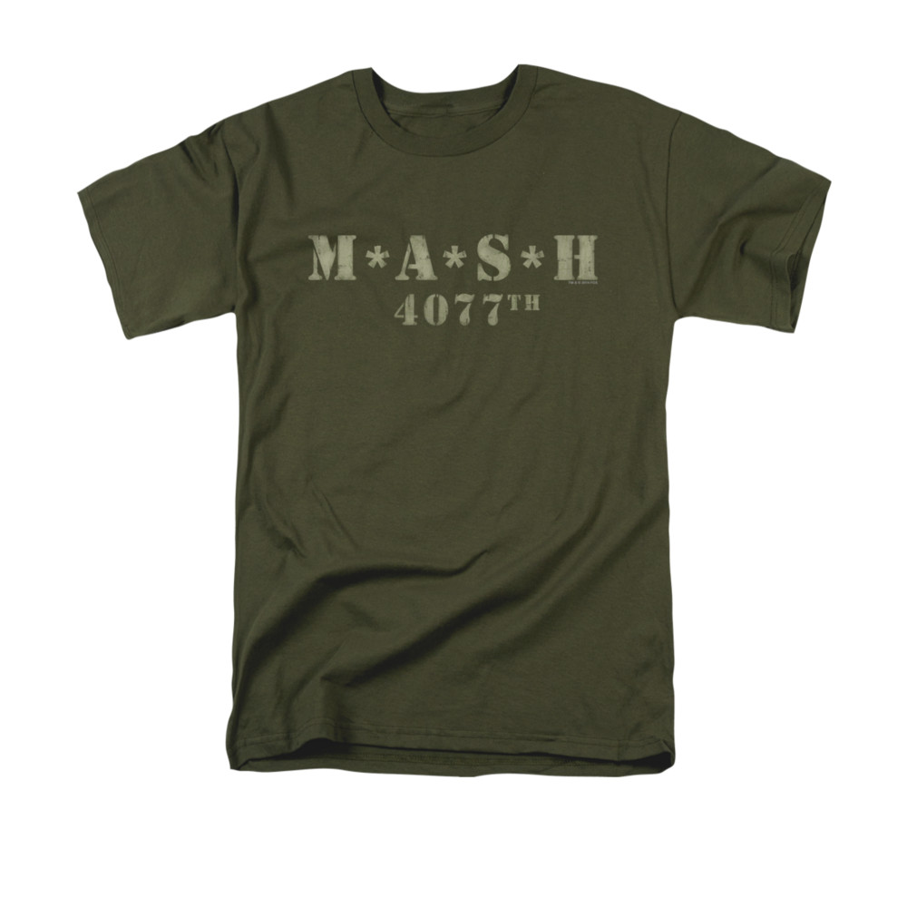 Mash shirt distressed logo olive green t shirt mash for How to make a distressed shirt