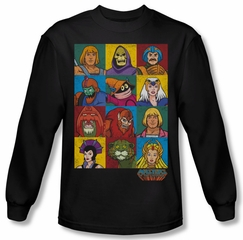Masters Of The Universe Shirt Character Heads Long Sleeve Black Tee