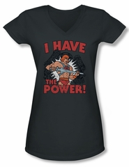 Masters Of The Universe Shirt Juniors V Neck I Have The Power Charcoal Tee