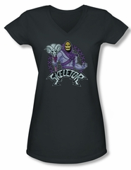 Masters Of The Universe Shirt Juniors V Neck Skeletor Charcoal Tee