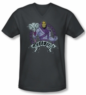 Masters Of The Universe Shirt Slim Fit V Neck Skeletor Charcoal Tee T-Shirt