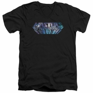 Masters Of The Universe Shirt Slim Fit V Neck Space Logo Black Tee T-Shirt