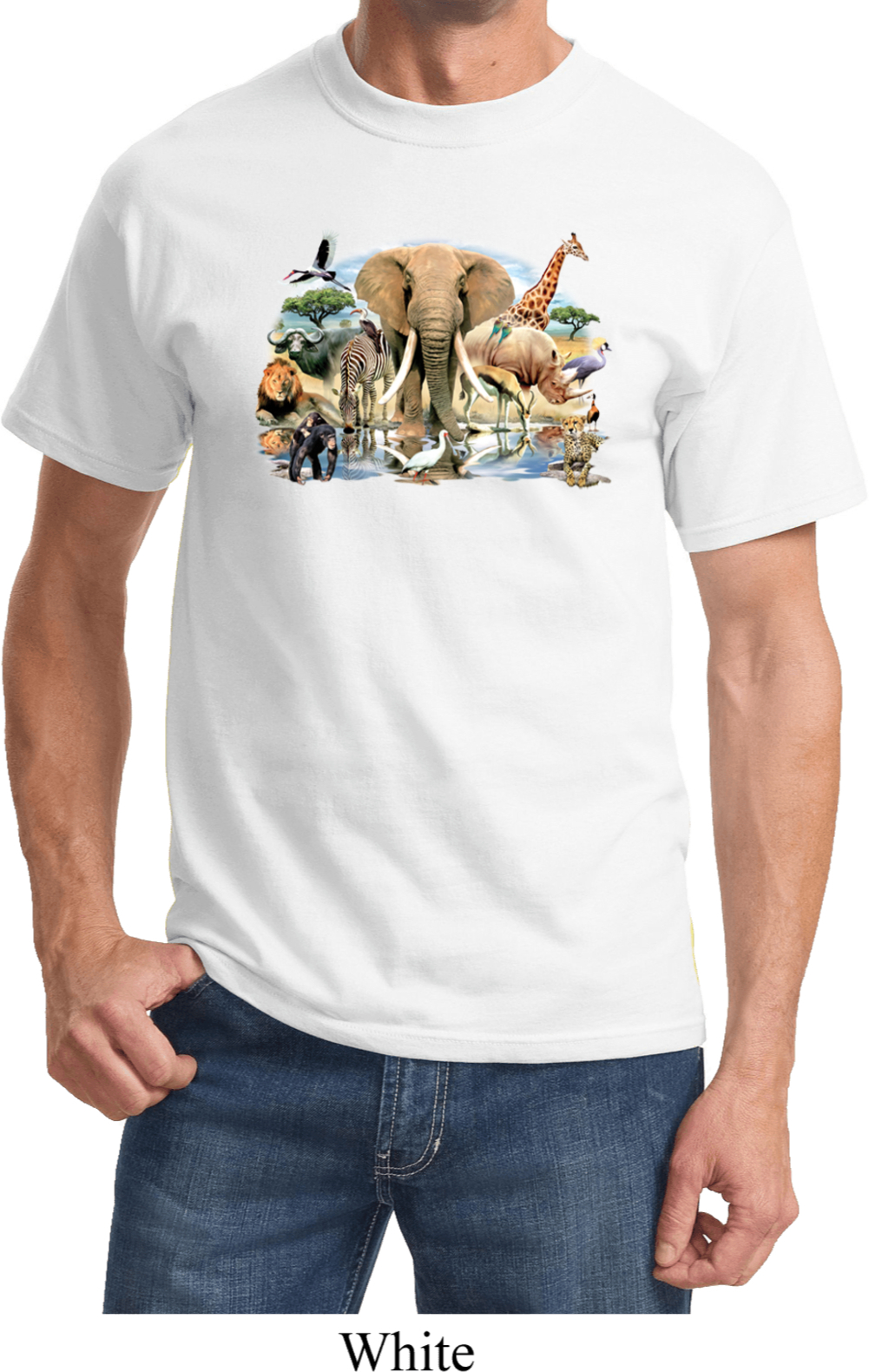 Mens animal shirt african oasis tee t shirt african for Animal tee shirts online