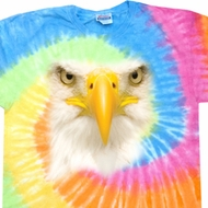Mens Bald Eagle Shirt Big Bald Eagle Face Eternity Tie Dye T-shirt