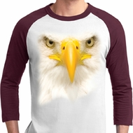 Mens Bald Eagle Shirt Big Bald Eagle Face Raglan Tee T-Shirt