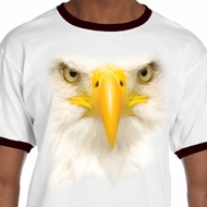 Mens Bald Eagle Shirt Big Bald Eagle Face Ringer Tee T-Shirt