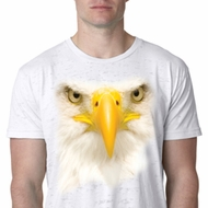 Mens Bald Eagle Shirt Big Bald Eagle Face White Burnout T-Shirt