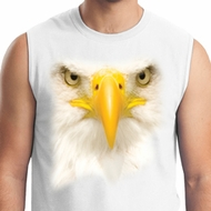 Mens Bald Eagle Shirt Big Bald Eagle Face White Muscle Tee T-Shirt