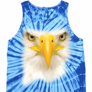Mens Bald Eagle Tanktop Big Bald Eagle Face Tie Dye Tank Top