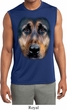 Mens Big German Shepherd Face Sleeveless Moisture Wicking Tee T-Shirt