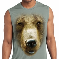 Mens Big Grizzly Bear Face Sleeveless Moisture Wicking Tee T-Shirt