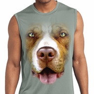 Mens Big Pit Bull Face Sleeveless Moisture Wicking Tee T-Shirt
