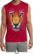 Mens Big Tiger Face Sleeveless Moisture Wicking Tee T-Shirt