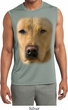 Mens Big Yellow Lab Face Sleeveless Moisture Wicking Tee T-Shirt