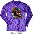 Mens Biker Shirt American By Birth Long Sleeve Tie Dye Tee T-shirt