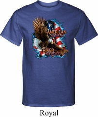 Mens Biker Shirt American By Birth Tall Tee T-Shirt