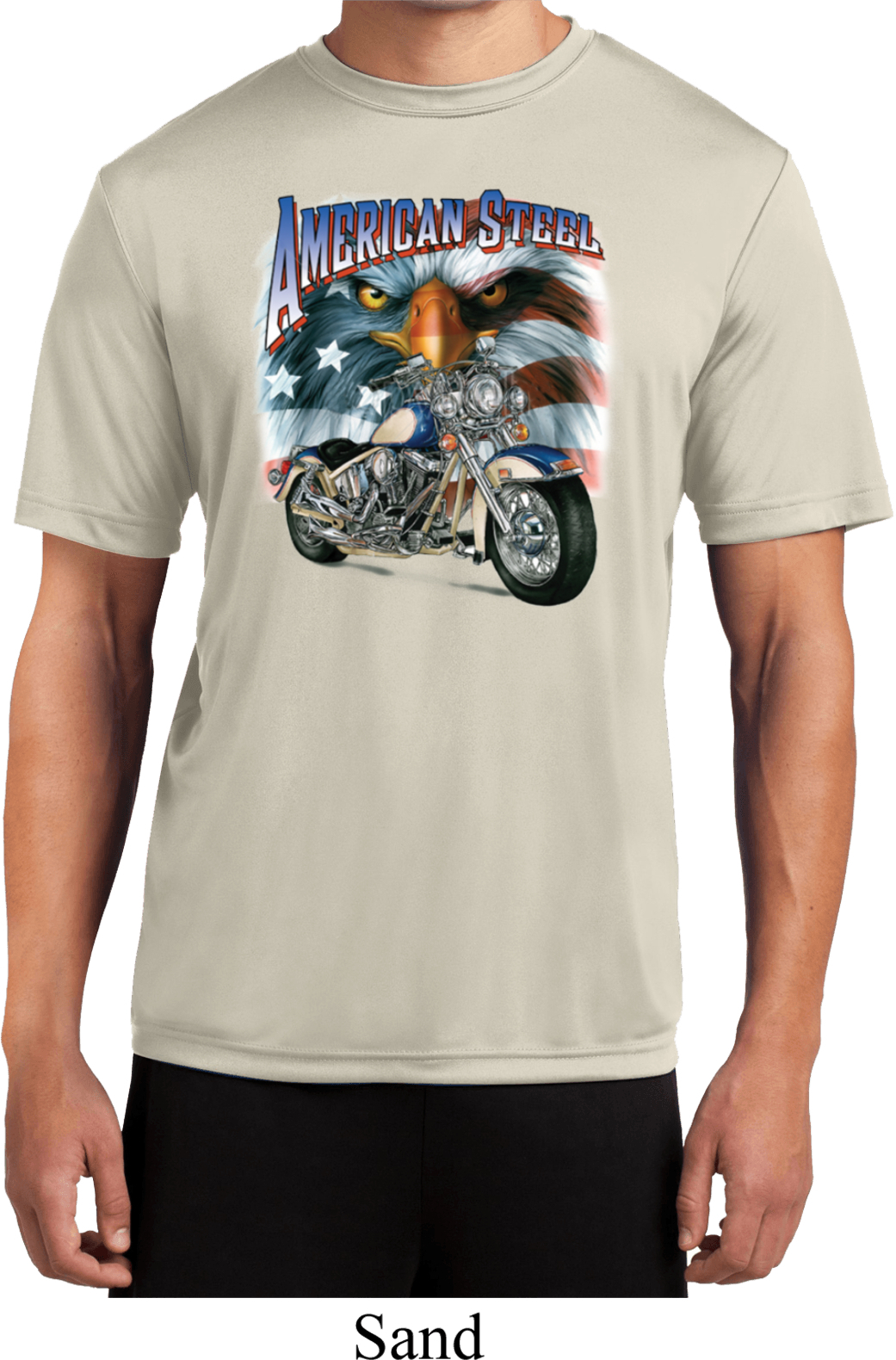 Mens biker shirt american steel moisture wicking tee t for Sweat wicking t shirts