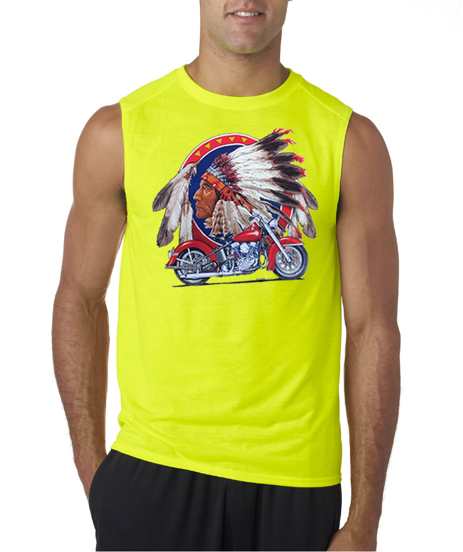 Mens Biker Shirt Big Chief Indian Motorcycle Sleeveless Tee T-Shirt ...