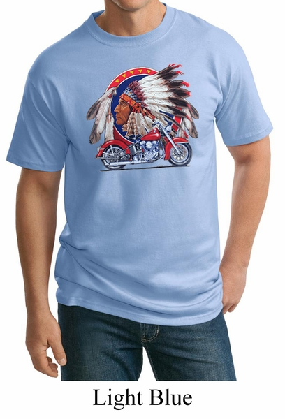 Mens biker shirt big chief indian motorcycle tall tee t for Mens tall t shirts