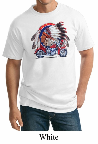 mens biker shirt big chief indian motorcycle tall tee t