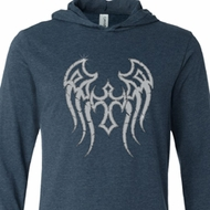 Mens Biker Shirt Cross Wings Lightweight Hoodie Tee