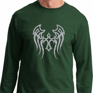Mens Biker Shirt Cross Wings Long Sleeve Tee