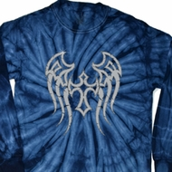 Mens Biker Shirt Cross Wings Long Sleeve Tie Dye Tee T-shirt