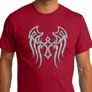 Mens Biker Shirt Cross Wings Organic Tee T-Shirt