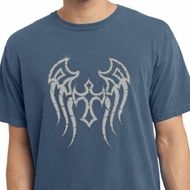 Mens Biker Shirt Cross Wings Pigment Dyed Tee T-Shirt