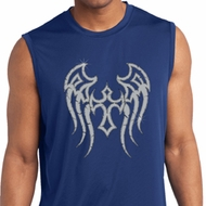 Mens Biker Shirt Cross Wings Sleeveless Moisture Wicking Tee T-Shirt