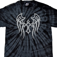 Mens Biker Shirt Cross Wings Spider Tie Dye Tee T-shirt