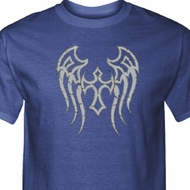 Mens Biker Shirt Cross Wings Tall Tee T-Shirt