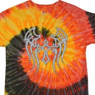 Mens Biker Shirt Cross Wings Tie Dye Tee T-shirt