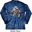Mens Biker Shirt Eagle Biker Long Sleeve Tie Dye Tee T-shirt