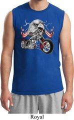 Mens Biker Shirt Eagle Biker Muscle Tee T-Shirt