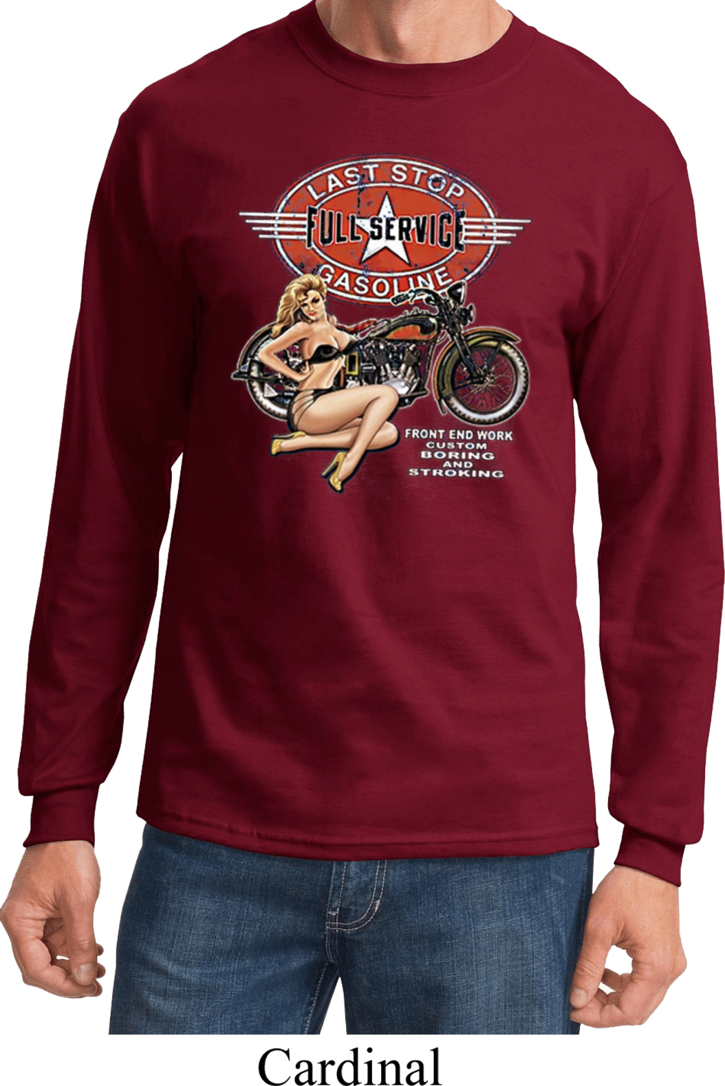 Mens Biker Shirt Full Service Gas Long Sleeve Tee T Shirt